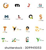 set of colorful abstract letter ... | Shutterstock . vector #309945053