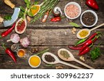 various spices and herbs with...   Shutterstock . vector #309962237