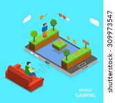 mobile gaming flat isometric... | Shutterstock . vector #309973547