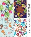 floral seamless pattern set  ... | Shutterstock .eps vector #309989267