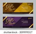 gift voucher and coupon gold or ... | Shutterstock .eps vector #309999317