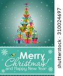 christmas greeting card  vector ... | Shutterstock .eps vector #310024697