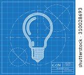 vector blueprint lightbulb icon ... | Shutterstock .eps vector #310028693
