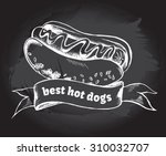 hot dog and banner hand drawn