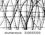black and white barbed wire... | Shutterstock . vector #310035203