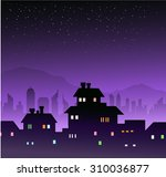 city at night   mountain... | Shutterstock .eps vector #310036877