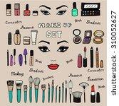 make up kit. doodle makeup set. ... | Shutterstock .eps vector #310052627