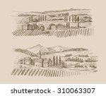 vector hand drawn village... | Shutterstock .eps vector #310063307