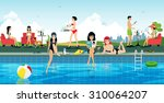 pool party with the sky as a... | Shutterstock .eps vector #310064207