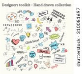 large collection of hand drawn... | Shutterstock .eps vector #310081697