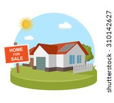 home for sale solar energy   Shutterstock .eps vector #310142627