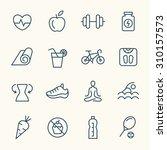 fitness line icons | Shutterstock .eps vector #310157573