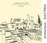 jerusalem  israel  middle east. ... | Shutterstock .eps vector #310179803