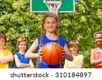 girl with ball and her team... | Shutterstock . vector #310184897