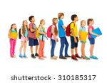 school kids with backpacks and... | Shutterstock . vector #310185317