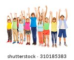 many different kids with raised ... | Shutterstock . vector #310185383
