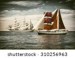 Постер, плакат: Sailing ships under sail