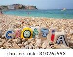 croatia paint on stones on the... | Shutterstock . vector #310265993