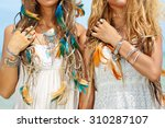 Close Up Image Of Two Hippie...