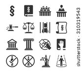 law icon set. included the... | Shutterstock .eps vector #310319543