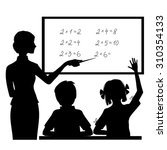 Silhouette Of Teacher At...