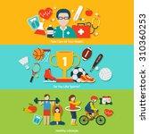 sport flat banners set with... | Shutterstock . vector #310360253