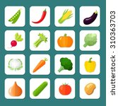 vegetables icon flat set with... | Shutterstock . vector #310363703