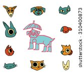 vector cartoon flat animals set ...