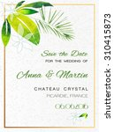 wedding invitation card with... | Shutterstock .eps vector #310415873