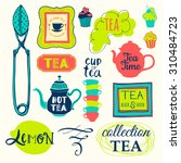 vector illustration with tea... | Shutterstock .eps vector #310484723