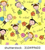 cheerful children seamless... | Shutterstock .eps vector #310499603