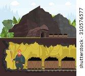 miner working in a mine. inside ... | Shutterstock .eps vector #310576577