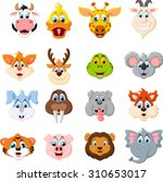 collection of cute face animal  | Shutterstock .eps vector #310653017
