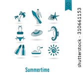 summer and beach simple flat... | Shutterstock . vector #310661153