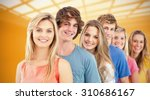 a smiling group standing behind ... | Shutterstock . vector #310686167