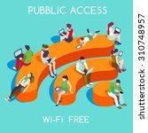 community 3d vector wireless wi ... | Shutterstock .eps vector #310748957
