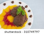 chocolate mousse on plate with... | Shutterstock . vector #310749797