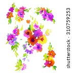 Set Of Abstract Floral Element...