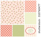 set of cute seamless shabby... | Shutterstock .eps vector #310760477