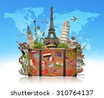 famous monuments of the world... | Shutterstock . vector #310764137