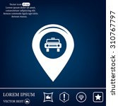 map pointer with car icon.... | Shutterstock .eps vector #310767797