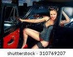 beautiful elegant woman in pin... | Shutterstock . vector #310769207