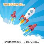 cartoon spaceships launch | Shutterstock .eps vector #310778867