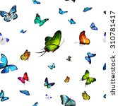 Stock photo pattern with flying butterflies 310781417