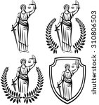 lady justice . greek goddess... | Shutterstock .eps vector #310806503