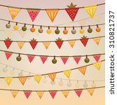 colorful garlands with fruit... | Shutterstock .eps vector #310821737