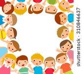 cartoon children around the... | Shutterstock .eps vector #310846637
