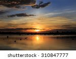 beautiful sunset on the river...   Shutterstock . vector #310847777