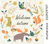 autumn forest background with... | Shutterstock .eps vector #310929707