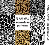 Set Of 8 Seamless Animal...